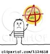 Clipart Of A Stick Man With An Anarchist Sign Royalty Free Vector Illustration by NL shop