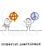 Clipart Of Stick Men With Peace And Anarchy Signs Royalty Free Vector Illustration