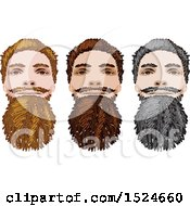 Clipart Of Male Faces Gray Blond And Brunette Beards Royalty Free Vector Illustration