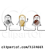 Clipart Of Stick Men With Gray Blond And Brunette Beards Royalty Free Vector Illustration