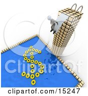 Poster, Art Print Of Successful Businessman Standing At The Edge Of A Diving Board At The Top Of A Tall Skyscraper Building Preparing To Jump Into A Pool With Yellow Inner Tubes Forming The Shape Of A Dollar Sign