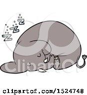 Cartoon Sleeping Elephant by lineartestpilot