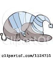 Cartoon Sleeping Elephant In Pajamas by lineartestpilot