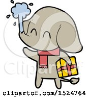 Cute Cartoon Elephant Spouting Water