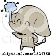 Cute Cartoon Elephant Spouting Water