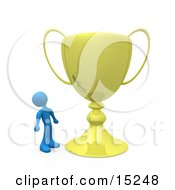 Winning Gold Athlete Person Staring Upwards In Awe At His Oversized Trophy Cup Clipart Illustration Image