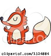 Clipart Of A Cartoon Fox Meditating Royalty Free Vector Illustration