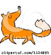 Clipart Of A Cartoon Fox Trotting Royalty Free Vector Illustration