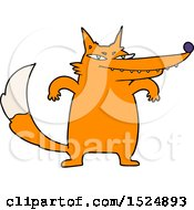 Clipart Of A Cartoon Tough Orange Fox Royalty Free Vector Illustration by lineartestpilot