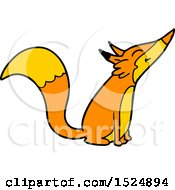 Clipart Of A Cartoon Happy Fox Sniffing Royalty Free Vector Illustration