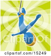 Poster, Art Print Of Blue Bungee Jumper In A Yellow Helmet Falling While Bungee Jumping