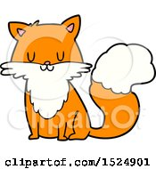 Clipart Of A Cartoon Happy Fox Or Cat Sitting Royalty Free Vector Illustration by lineartestpilot