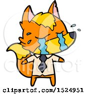 Cartoon Sad Little Business Fox