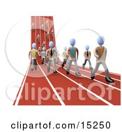 Competitive Businessmen Running Downhill And Forward On Lanes Of A Track While Racing For A Job Opportunity