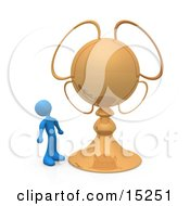 Blue Person Looking Upwards In Awe At His Championship Trophy Clipart Illustration Image