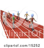 Competitive Businessmen Running Down Lanes Of A Track While Racing For A Job Opportunity Clipart Illustration Image by 3poD