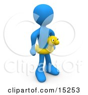Blue Person Wearing A Yellow Inner Tube With A Face Around Their Waist At The Beach On Summer Vacation