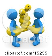 Two Blue People Wearing Hugging Yellow Inner Tubes With Faces Around Their Waists At The Beach On Summer Vacation Clipart Illustration Image
