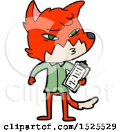 Clipart Cartoon Of A Fox Scientist Holding A Clipboard