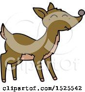 Cartoon Clipart Of A Happy Deer