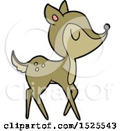 Cartoon Clipart Of A Happy Deer by lineartestpilot