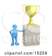 Winning Blue Athlete Person Leaning Against A Podium On Which His Oversized Trophy Cup Rests