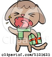 Cute Cartoon Dog With Christmas Present