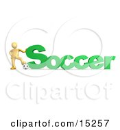 Golden Soccer Players Resting One Foot On A Soccer Ball And Resting A Hand On The Word Soccer