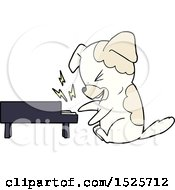 Cartoon Dog Rocking Out On Piano by lineartestpilot
