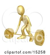 Strong Gold Man Bending His Knees And Preparing To Lift Heavy Barbell Weights In A Fitness Gym