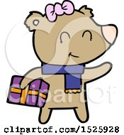 March 15th, 2018: Cartoon Bear With Present by lineartestpilot