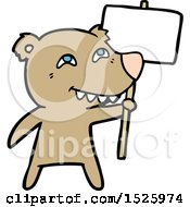 March 16th, 2018: Cartoon Bear With Protest Sign by lineartestpilot
