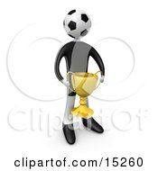 Soccer Player Person With A Soccer Ball Head Holding A Golden Trophy Cup