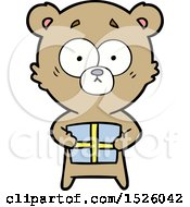 March 17th, 2018: Cartoon Bear With Present by lineartestpilot