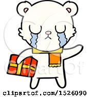 Crying Polar Bear Cartoon With Christmas Gift