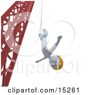 White Bungee Jumper In A Yellow Helmet Falling While Bungee Jumping From A Crane