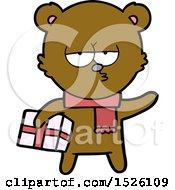 Cartoon Bear With Present