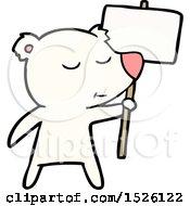 Happy Cartoon Polar Bear With Sign