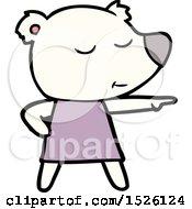 Cartoon Polar Bear Wearing Dress