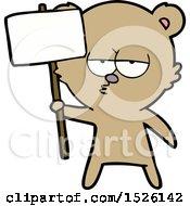 Cartoon Bear With Protest Sign