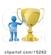 Winning Blue Athlete Person Leaning Against His Oversized Trophy Cup