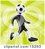 Soccer Player Person With A Soccer Ball Head Running