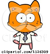 Cartoon Nervous Business Cat