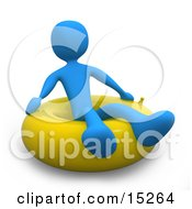 Blue Person Relaxing And Floating On A Yellow Inner Tube In The Ocean On Summer Vacation