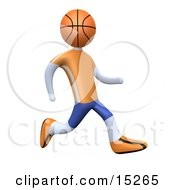 Poster, Art Print Of Basketball Player With A Basketball Head Running In An Orange And Blue Uniform