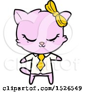 Cute Cartoon Business Cat With Bow