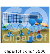 Four People Facing Eachother While Standing On Two Sides Of A Beach Volleyball Net With The Ball Between Them Clipart Illustration Image