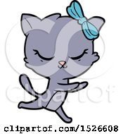 March 17th, 2018: Cute Cartoon Cat With Bow by lineartestpilot