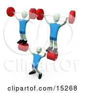 Strong Man Lifting Heavy Barbell Weights And Two Other Weightlifters Over His Head In A Fitness Gym