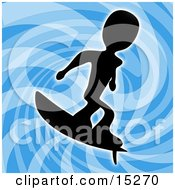Silhouetted Person Wearing Surfing Over A Blue Background Clipart Illustration Image